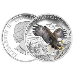 20 Dollars Argent Canada BE 2016 colorisée - L'aigle