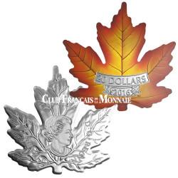20 Dollars Argent Canada BE 2016 colorisée - Feuille d'érable