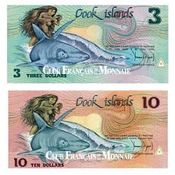 Lot de 2 billets Îles Cook 1987