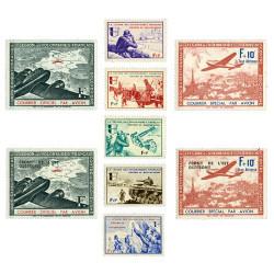 """Les 9 timbres de la """"Légion des Volontaires Français"""""""
