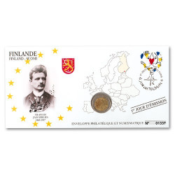 """L'enveloppe """"1er Jour"""" d'émission 2 Euro Finlande 2015 - 150 ans de la naissance de Jean Sibelius"""