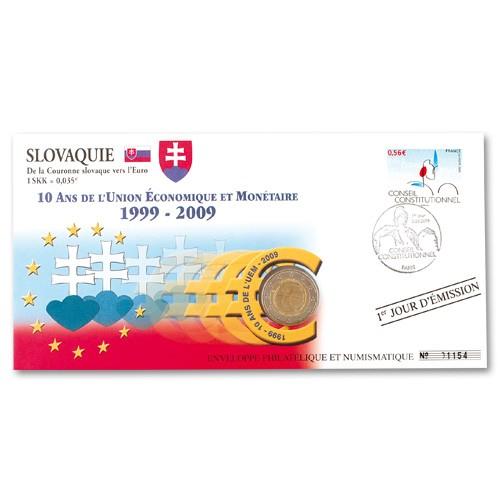 """L'enveloppe """"1er Jour"""" d'émission 2 Euro Slovaquie 2009 - 10 ans de l'Euro"""