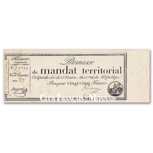 25 Francs Promesse  de Mandat Territorial - Monnaie fiduciaire : 1796-1797