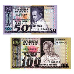 Lot de 2 billets Madagascar 1974-1975