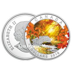 20 Dollars Argent Canada BE 2016 colorisée - Tranquillité d'automne