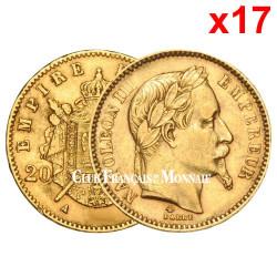 17 pièces de 20? Francs Or Napoléon III