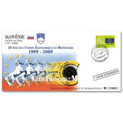 """L'enveloppe """"1er Jour d'émission""""  2 Euro Slovénie 2009 10 ans de l'Euro"""