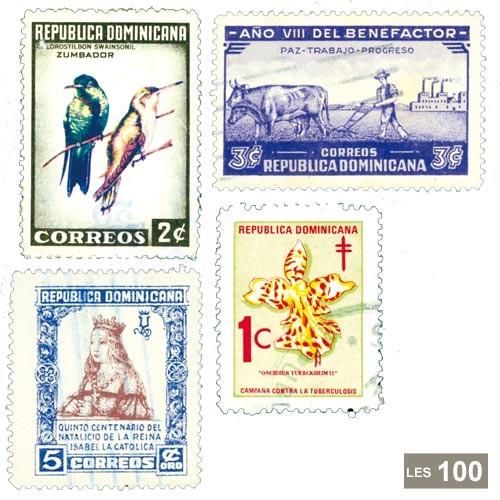 100 timbres République Dominicaine