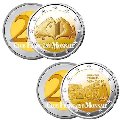 Lot des 2 x 2 Euro Malte 2016