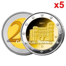 5 x 2 Euro Allemagne 2017 Porta Nigra - Land de  Rhénanie-Palatinat