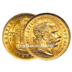 20 Francs/8 Florint Hongrie 1870-1880 - François-Joseph I TL