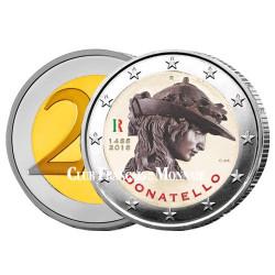 2 Euros Italie 2016 colorisée - 550 ans de la mort de Donatello