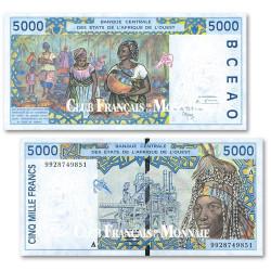 Billet 5 000 Francs Côte d'Ivoire 1999