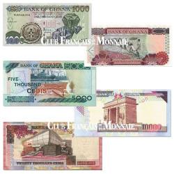 Lot de 5 billets Ghana 2003-2006