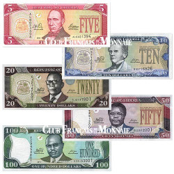 Lot de 5 billets Liberia 2003-2011
