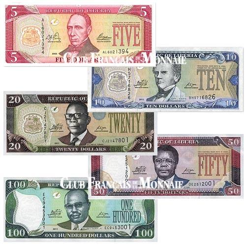 Lot de 5 billets Liberia 2003-2011