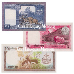Lot de 3 Billets Népal 1974