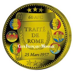 """""""L'Euro Traité de Rome"""" colorisé 2017 Bronze Belle Épreuve"""