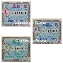 Lot de 3 billets Japon 1944