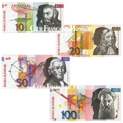 Lot de 4 billets Slovénie 1992-2003