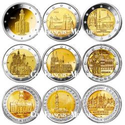 Lot des 9 x 2 Euro Allemagne Länder