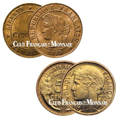Lot 1 centime Cérès  + 50 centimes Morlon