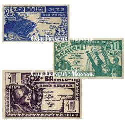 Lot de 3 billets Espagne 1937-1939 - Monnaie de nécessité Républicaine