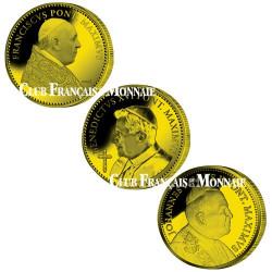 Lot des 3 médailles Papes dorées