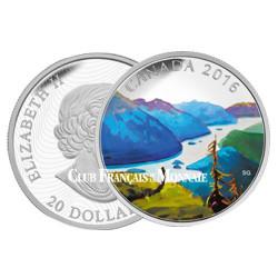 20 Dollars Argent Canada BE 2016 colorisée - Sommet Paysage canadien
