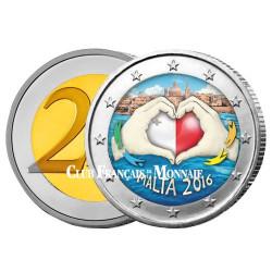 2 Euro Malte 2016 colorisée - Amour