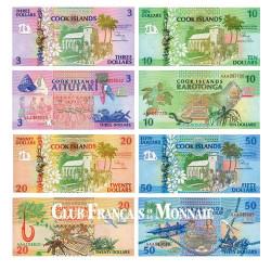 Lot de 4 billets Îles Cook 1992