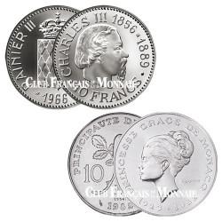 Lot des 2 x 10 Francs Argent Monaco