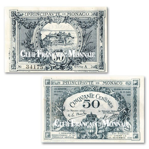 Billet 50 Centimes Monaco 1920