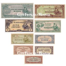 Lot de 9 billets Birmanie 1942-1944 - Monnaie d'invasion japonaise