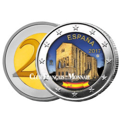 2 Euro Espagne colorisé 2017 - Église Santa Maria - Asturies