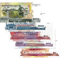 Lot de 5 billets Cambodge 2001-2007