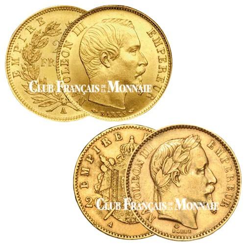 Lot de 1 x 20 Francs Or Napoléon III TN + 1 x 20 Francs Or Napoléon III TL