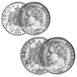 Lot de 1 Franc et 2 Francs Napoléon III Tête Laurée SUP