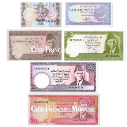Lot de 6 billets Pakistan 1983-1999