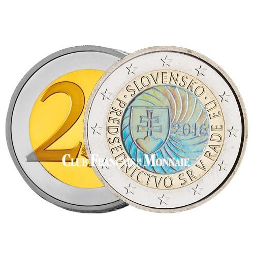 2€ Slovaquie Hologramme 2016 colorisée - Présidence de l'Union Européenne