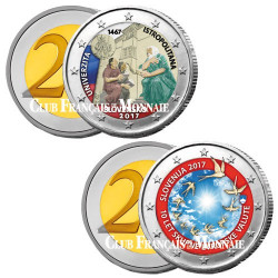 Lot des 2 x 2 Euro Slovaquie et Slovénie 2017 colorisées