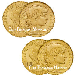 L'indispensable du collectionneur : 1 x 20 Francs Or Génie IIème République  + 1 x 20 Francs Or Génie IIIème République