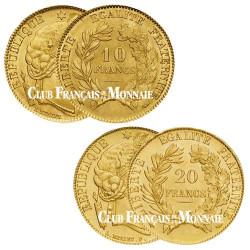 Lot de 1 x 10 Francs Or Cérès + 1 x 20 Francs Or Cérès