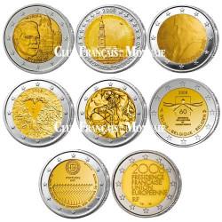 Lot des 8 x 2 Euro commémoratives 2008