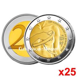 Le rouleau de 25 x 2 Euro France 2017 - 25 ans du Ruban Rose