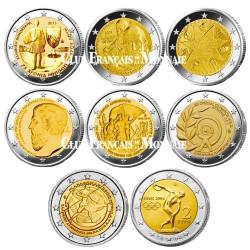 Le lot des 8 x 2 Euro Grèce