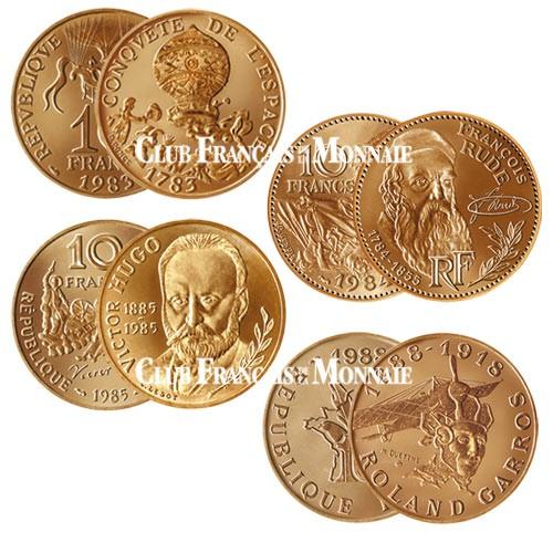 Lot de 4 pièces de 10 Francs