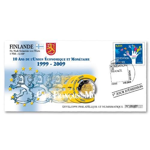 """L'enveloppe """"1er Jour d'émission"""" 2 Euro Finlande 2009 - 10 ans de l'UEM"""