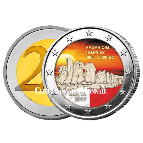 2 Euro Malte 2017 colorisée - Temples de Hagar Qim