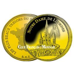 Notre dame  de Lourdes dorée à l'or fin 24 carats